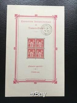 Avo! 1263 France Block Exposure Stamps Paris 1925 Bf Sheet 1 O 1 Day