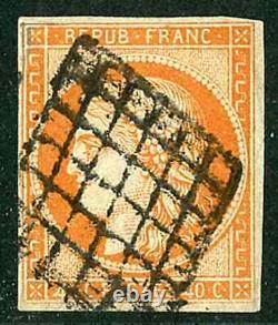 Classic French Stamp, Cérès No. 5 40 C Orange Variety 4 Wide