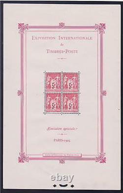 France Block Feuille Yvert 1 Exposition Paris 1925 Neuf XX Ttb Valeur 5500