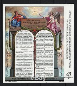 France Block Sheet 11c Human Rights 1989 Fluorenscent Neufxx Luxury T331
