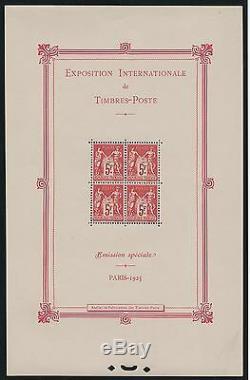 France Block Sheet 1 Exhibition Paris 1925 New Value XX Ttb 5500 K585f