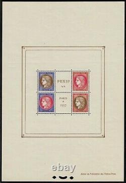 France Block Sheet 3 Exhibition Pexip 1937 Nine Ttb, Value 800