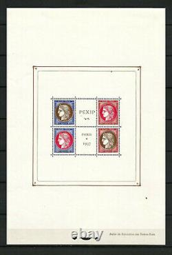 France Block Sheet Bf # 3 Pexip 1937 Neuf Luxe. Approval 800. Top Promo