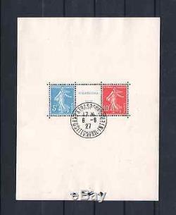 France Miniature Sheet 2 Strasbourg Oblitere 1927 Stamp Exhibition Ttb R138