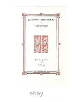 France Numero1 Souvenir Sheet Expo Philatelic Nine Paris Intact Gum