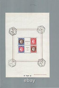 1937 bloc feuillet N° 3 timbres 348 à 351 Paris PEXIP exposition philatélique