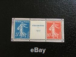 AVO! 1290 FRANCE exposition Strasbourg 1927 paire timbres 242A semeuse TB