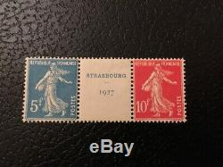 AVO! 1291 FRANCE exposition Strasbourg 1927 paire timbres 242A semeuse TB