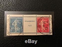 AVO! 1294 FRANCE exposition Strasbourg 1927 paire timbres 242A O semeuse TB