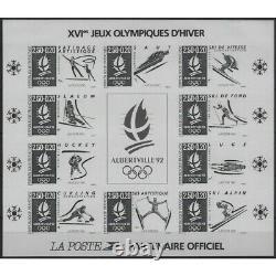 Bloc-feuillet de timbres N°14b Albertville 92 non dentelé noir neuf SUP