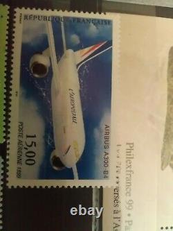 Collection de timbres Français neuf et oblitérés, poste aérienne, feuillet