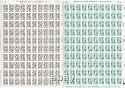 F5234 F5235 FEUILLES de 100 timbres MARIANNE de CIAPPA surchargées 2013/2018