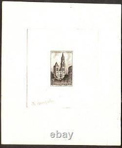 FRANCE 1958 Cathedrale de Senlis, YVert# 1165 Epreuve d Artiste Noir signé