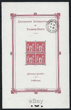 FRANCE BLOC FEUILLET 1 EXPOSITION PARIS 1925 NEUF xx AVEC CACHET TB P245