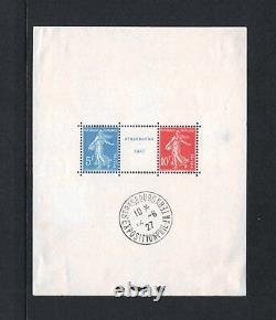 FRANCE BLOC FEUILLET 2 a STRASBOURG 1927 NEUF TB AVEC CACHET EXPOSITION R348