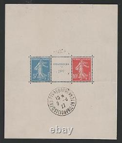FRANCE BLOC FEUILLET 2 a STRASBOURG 1927 NEUF xx AVEC CACHET EXPOSITION M835