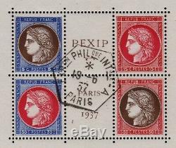 FRANCE BLOC FEUILLET 3 PEXIP 1937 NEUF xx LUXE AVEC CACHET EXPOSITION T076