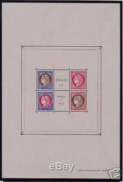 FRANCE BLOC FEUILLET 3 c PEXIP 1937 SANS PERFORATION NEUF xx TTB VALEUR 900