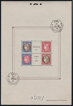 FRANCE BLOC MAURY 3d PEXIP PARIS 1937 PERFORATION EN HAUT NEUF xx TTB