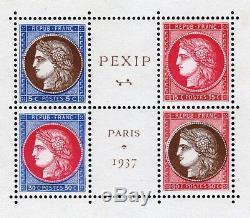 FRANCE STAMP TIMBRE BLOC FEUILLET 3 PEXIP 1937 NEUF xx LUXE VALEUR 800 T705
