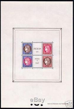 FRANCE STAMP TIMBRE BLOC FEUILLET N° 3 PEXIP 1937 NEUF xx TTB, VALEUR 800