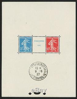 France 5F+10F Bloc N°2a Exposition de Strasbourg NEUF + oblitération, 1927