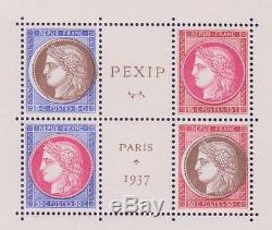 France Bloc 3 Pexip 1937 Variete Couleurs Decalees Luxe