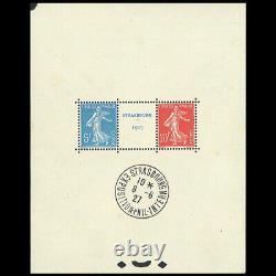 France Bloc N°2a EXPOSITION STRASBOURG 1927 cachet témoin (YT 1350)