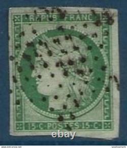 France céres n°2 15c vert jaune (pli) oblitéré étoile de Paris belles marges tre