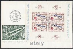 Philatec 1964 Bloc-Feuillet n°6 oblitéré + 2 enveloppes 1er jour + unité