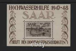 SARRE STAMP BLOC FEUILLETS YVERT 1 / 2 INONDATIONS 1947 NEUFS xx LUXE R144A