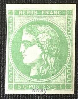 Timbre de France classique 5c vert-jaune Bordeaux N°42B Neuf cote 370