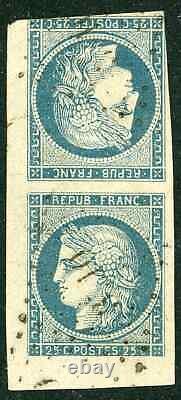 Timbre de France classique, Cérès n°4C Oblitération Variété tête bêche