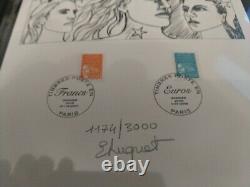 -rare- Marianne Du Franc A L'euro. Tryptique Emis En 2002. Tirage Limite